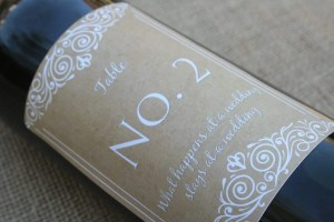 personalised wine label for weddings - Table number cute design