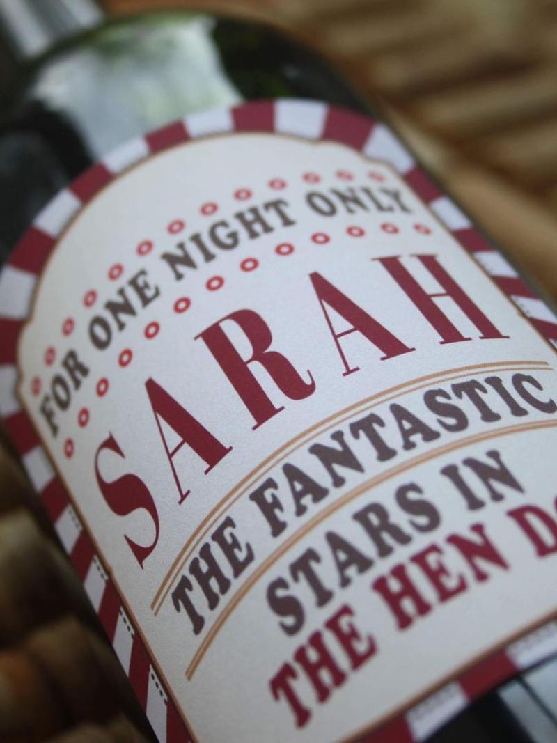 personalised wine label for Hen Do's - Carnival design