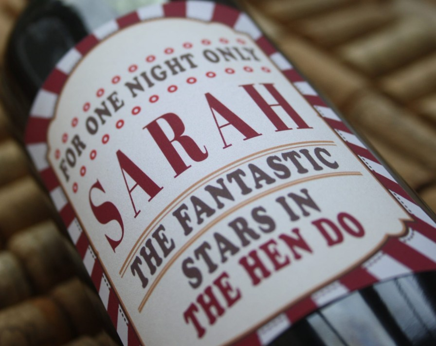 Personalised wine label for Hen do's or Hen Parties / Partys