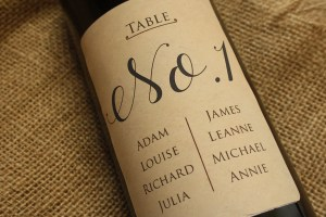 table numbers design for personalised wine