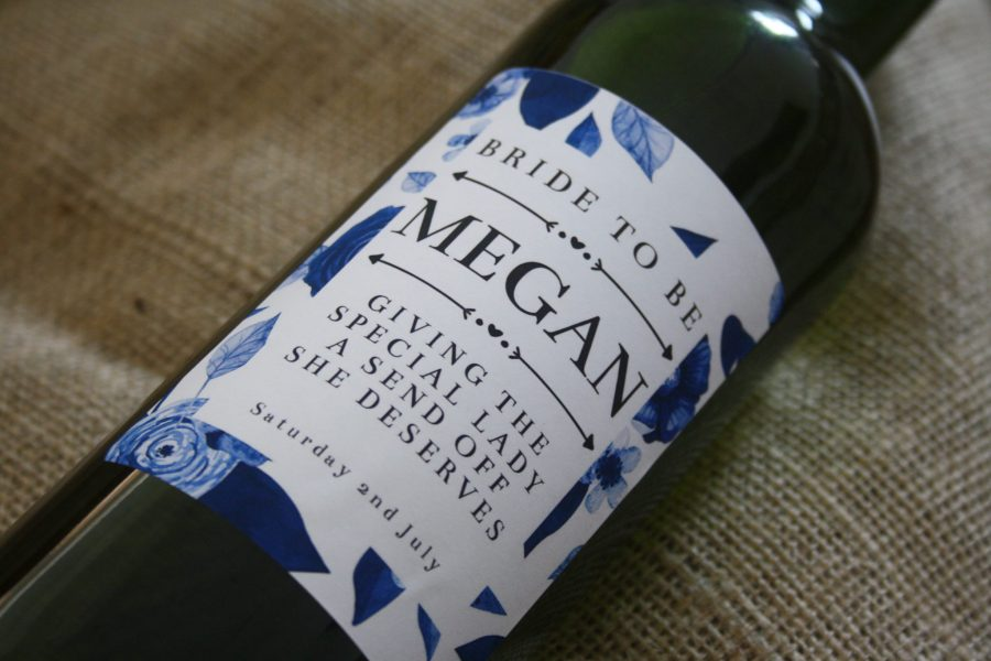 personalised wine for weddings - classy blue design personalised wine label