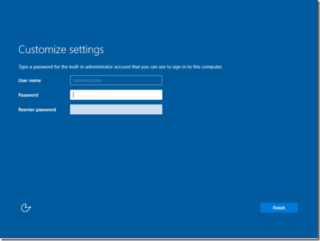 Windows 2016 login screen