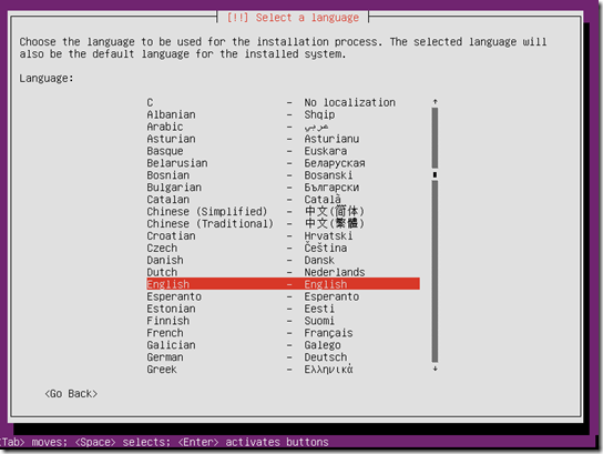 Ubuntu 16.04 choose language