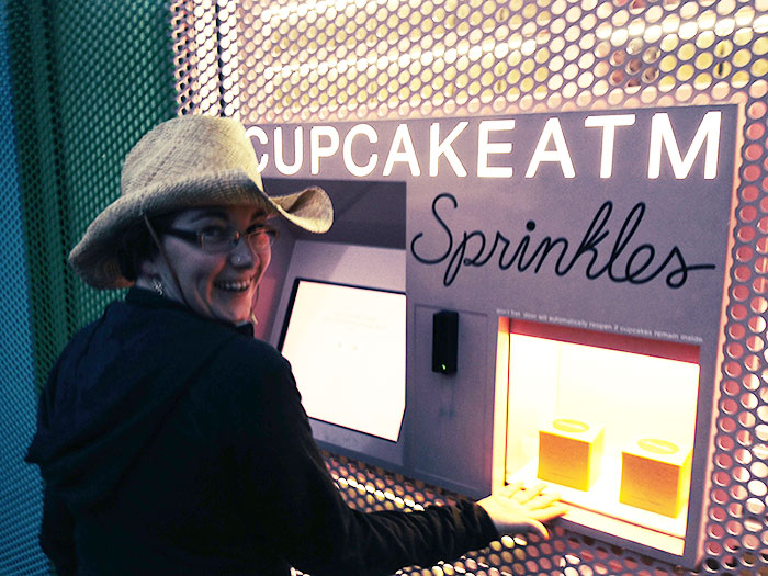 This photograph was taken about three seconds before the Cupcake ATM ate my hand.
