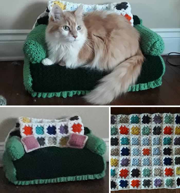 an orange and white persian cat lays on a green crochet cat couch