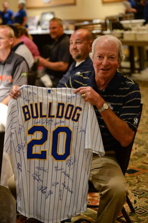 Ken Sanders received a special Bulldog jersey signed by all the celebrities at Tee Up Fore the Cure in appreciation for bring such an amazing celebrity group together at the event.