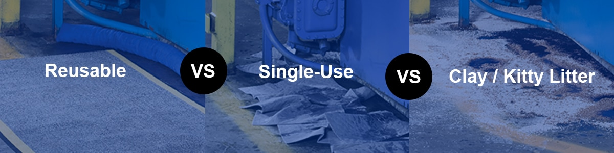 reusable oil absorbents, single-use oil absorbents, and clay or kitty litter absorbents on the floor next to a machine leaking oil