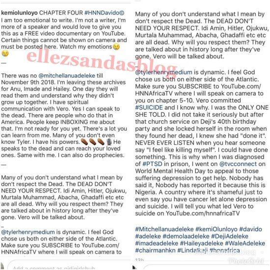 Kemi Olunloyo Narrates How Davido's Mum Killed Herself