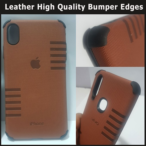 Apple iPhone XS Max mobile cover - Leather High Quality with Bumper Edges