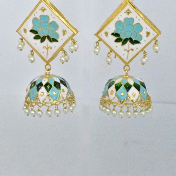 Meenakari Flower Design White Shining Earrings JAR13 - SH25O0
