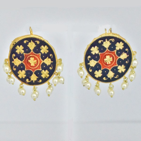 Meenakari Circle Design Dark Blue Shining Earrings JAR14 - CV1I00