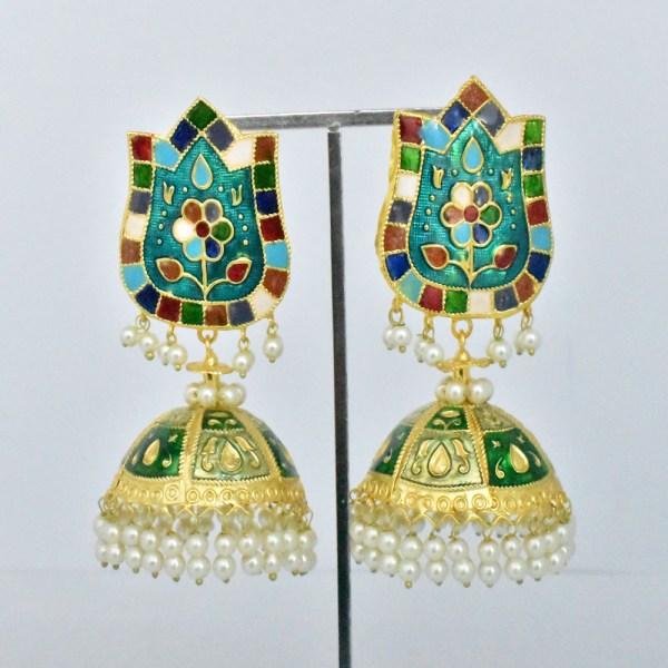 Meenakari Latest Design Multi-Color Shining Earrings JAR9 - PT3J80