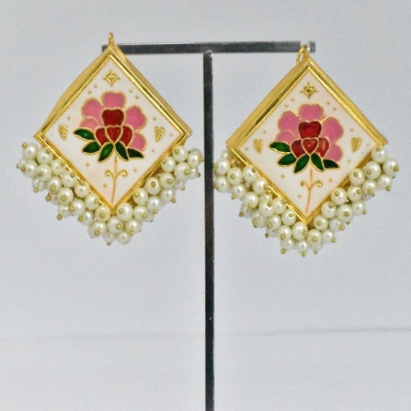 Meenakari Flower Design Multi-Color Shining Earrings JAR12 - FC16O0