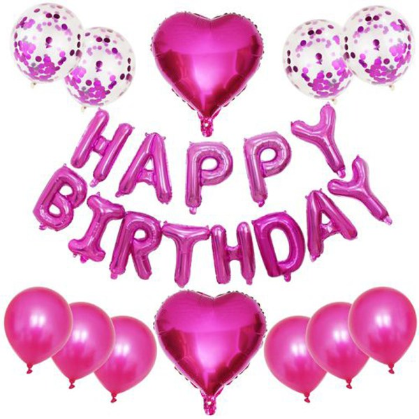 Birthday Party Package: 4 confetti balloons, 6 latex Balloons, 2 pink heart Foil Balloons, 1 happy birthday foil balloon
