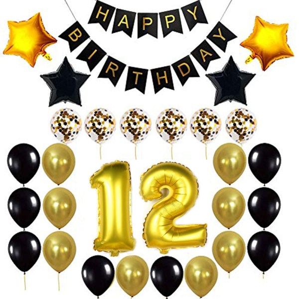Birthday Party Package: 100 Latex Balloons, 4 star foil Balloons, 6 confetti balloons, gold number 12 foil balloon, 1 happy birthday banner
