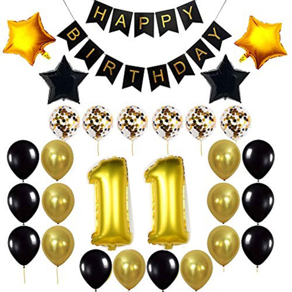 Birthday Party Package: 100 Latex Balloons, 4 star foil Balloons, 6 confetti balloons, gold number 11 foil balloon, 1 happy birthday banner