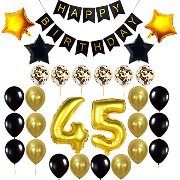 Birthday Party Package: 100 Latex Balloons, 4 star foil Balloons, 6 confetti balloons, gold number 45 foil balloon, 1 happy birthday banner