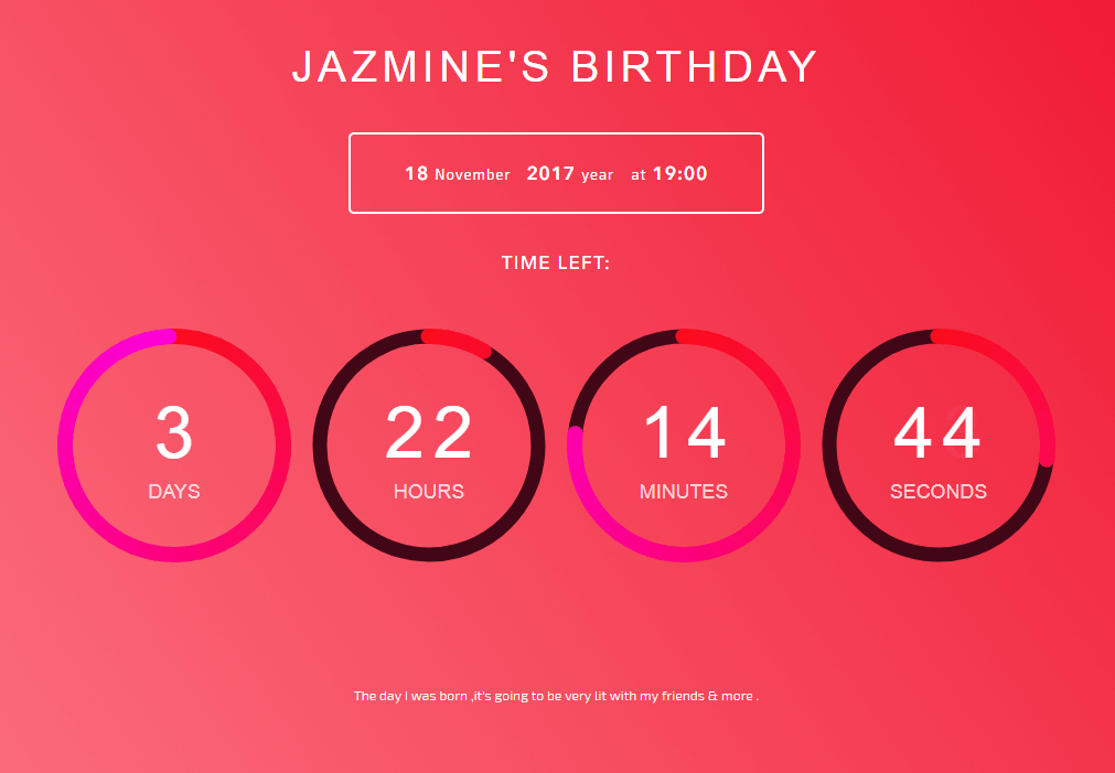 Birthday Countdown Page Constructor