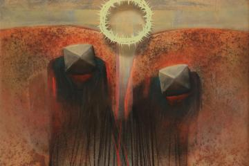 Abstract painting of the crucifixtion of Jesus by opendynamicart