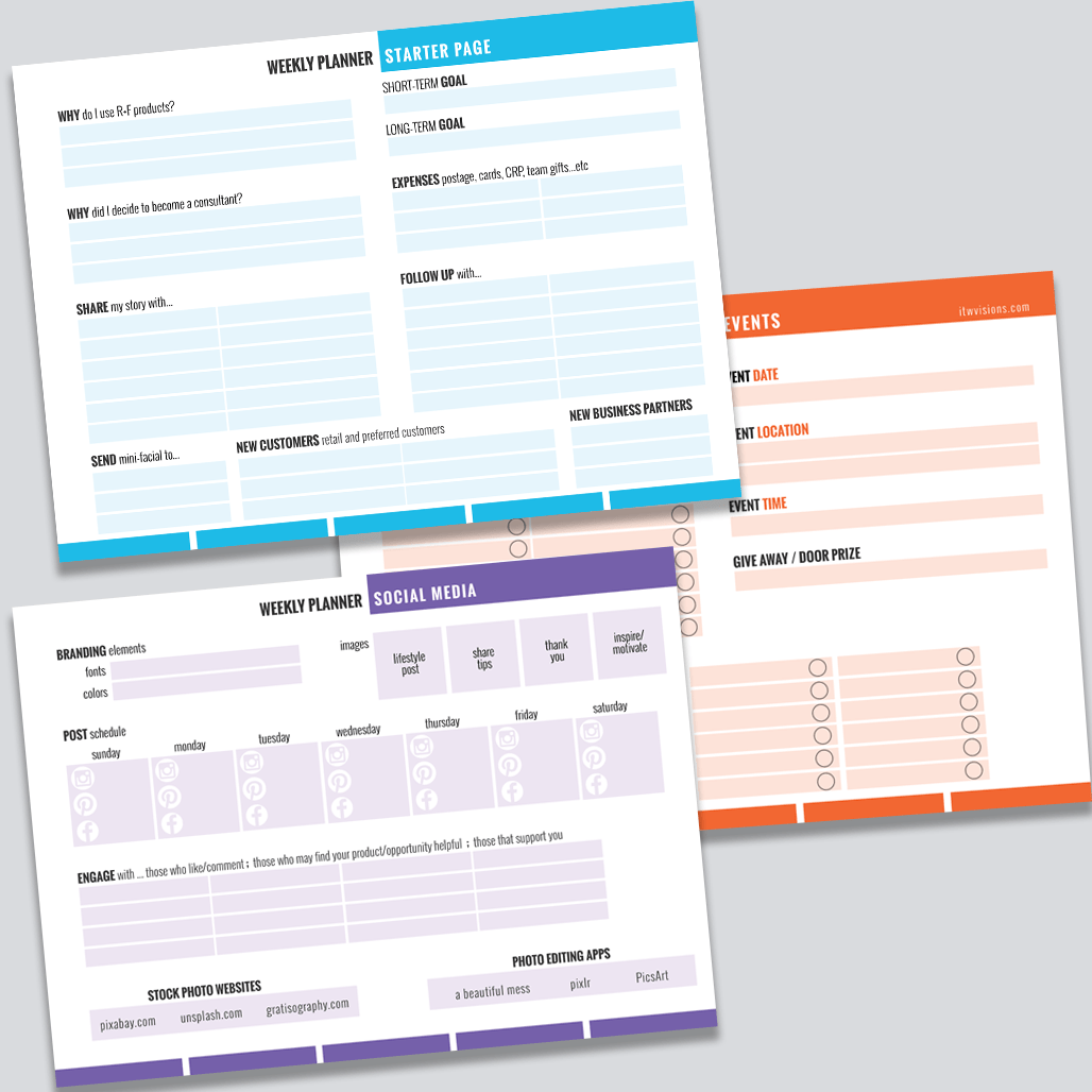 free rodan and fields planner sheets checklists