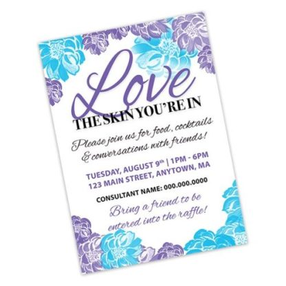 rodan fields business event invitation purple flowers