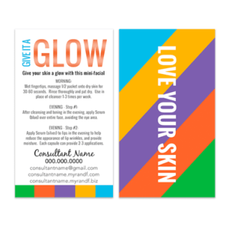 rodan fields mini facial glow card, love your skin mini facial instruction card