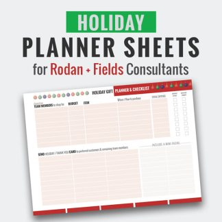 rodan and fields holiday tracking sheet, holiday planner sheet, mlm gift giving checklist, rodan and fields business