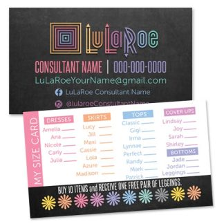 lularoe business popup boutique punch card my size card