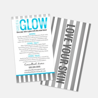 give it a glow card rodan and fields mini facial instruction card, customize to suit your products
