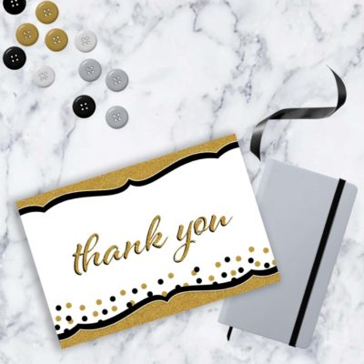 thank you card, thank you note card prints, gold and black sparkles