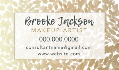 gold watercolor flowers makeup artist business card