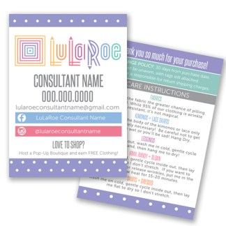lularoe business cards, lularoe home office approved colors and fonts