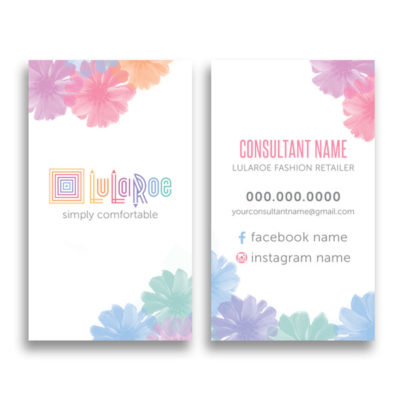 lularoe business card with watercolor flowers