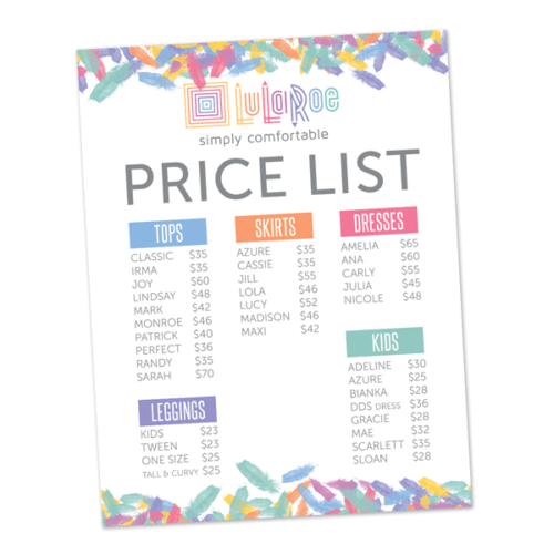 lularoe business price list instant download printable