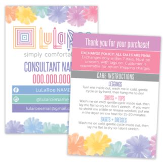 lularoe thank you card, lularoe care card, lularoe business card
