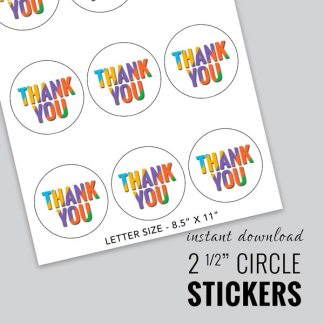thank you sticker round, circle thank you sticker