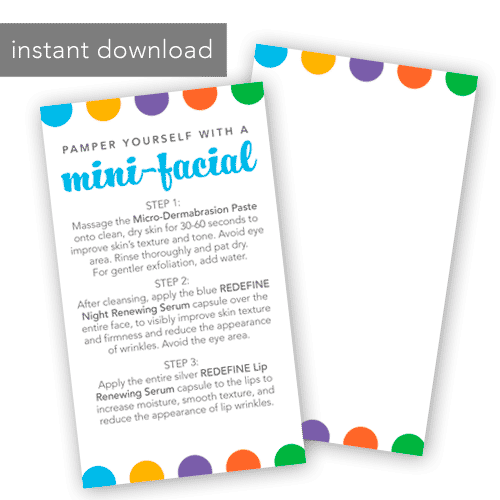 rodan and fields business, instant download mini facial card