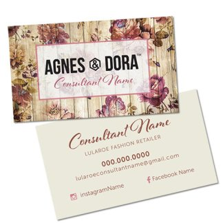 agnes and dora business card with rustic rose design