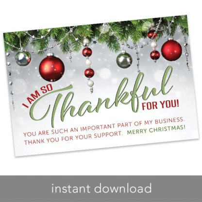 holiday thank you card, rodan and fields thank you card, rodan and fields holiday thank you card, merry christmas thank you card, instant download thank you card for holidays