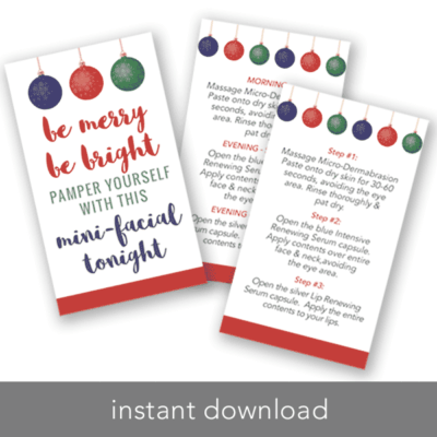 rodan and fields holiday mini facial cards, be merry be bright, intensive renewing serum