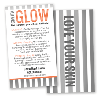 rodan and fields mini facial card instructions, glow card, orange and gray love your skin