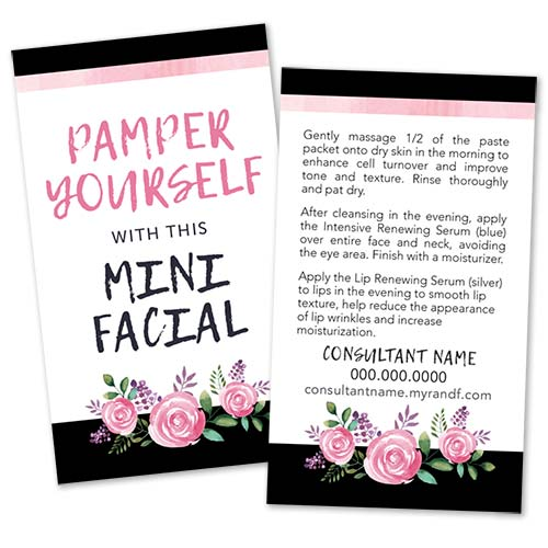 rodan fields mini facial glow cards, rodan and fields business cards, pink watercolor roses