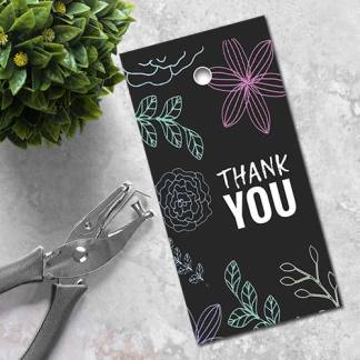 free printable thank you gift tag nighttime flower pattern
