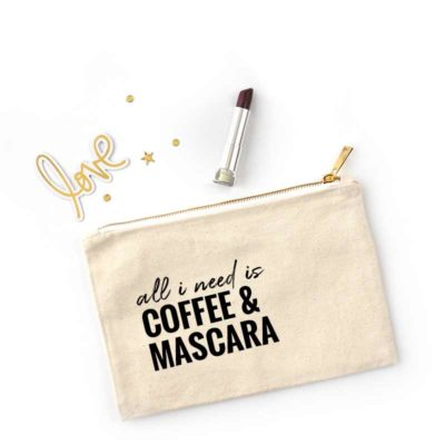 cosmetic bag, coffee and mascara bag, rodan and fields lash boost, team gift, makeup artist bag, makeup bag