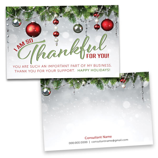 Christmas Thank You Cards.4 X 6 Holiday Thank You Card Double Sided