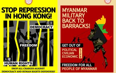 solidarity with workers of Myanmar and Hong Kong on May 1st POSTERS