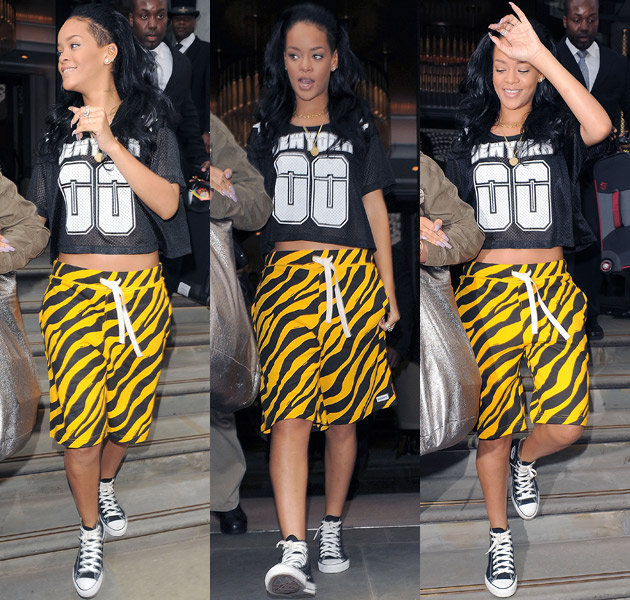 rihanna-leopard-print-shorts-London