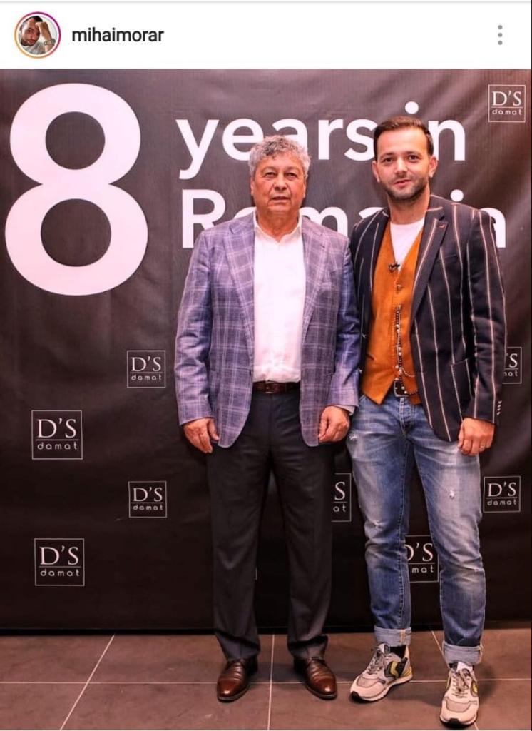 Mircea Lucescu și Mihai Morar, îmbrăcați cu sacouri, la un eveniment