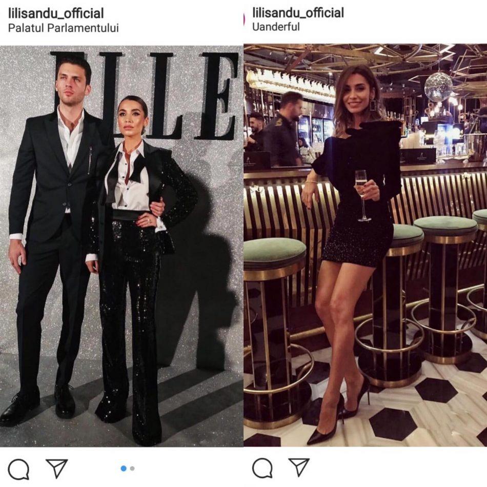 Lili Sandu îmbrăcată în pantaloni foarte lungi, la Elle, și în rochie scurtă la un alt eveniment
