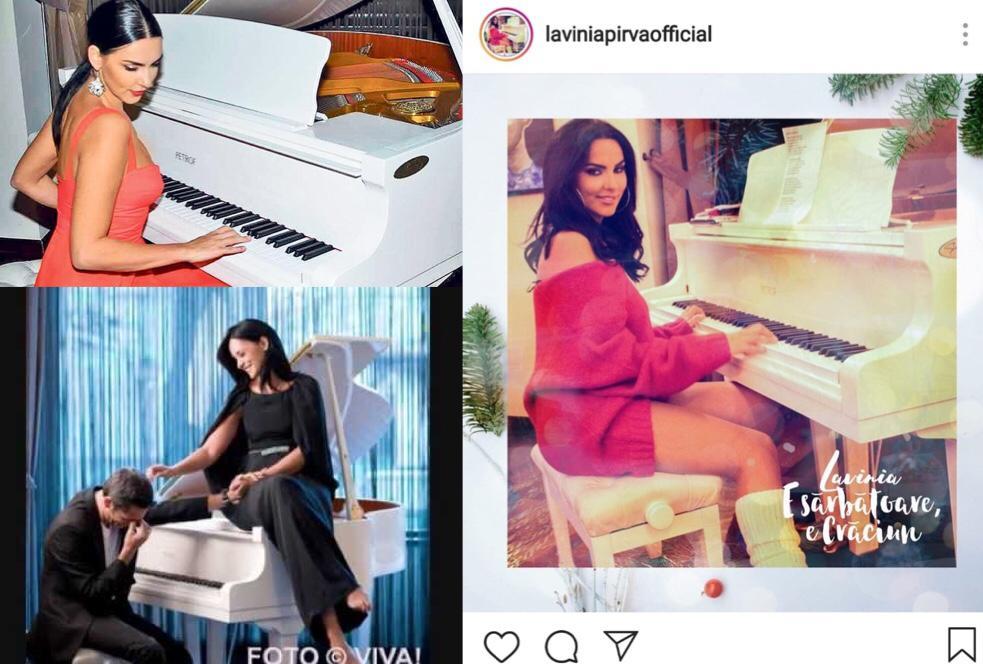 Lavinia Pîrva se pozează des la pianul alb din fosta casa a Andreei Marin